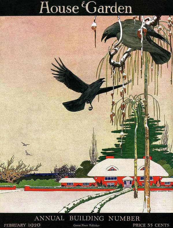 Illustration Art Print featuring the photograph A House And Garden Cover Of Crows By A House by Charles Livingston Bull