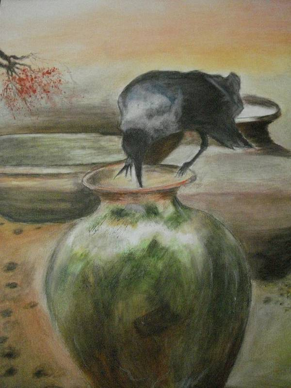 Water Jars Art Print featuring the painting A Thirsty Crow by Prasenjit Dhar