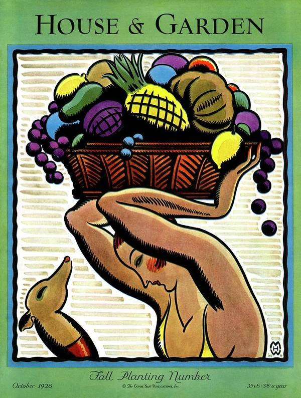 House And Garden Art Print featuring the photograph A Woman Holding A Basket Of Fruit by Marion Wildman