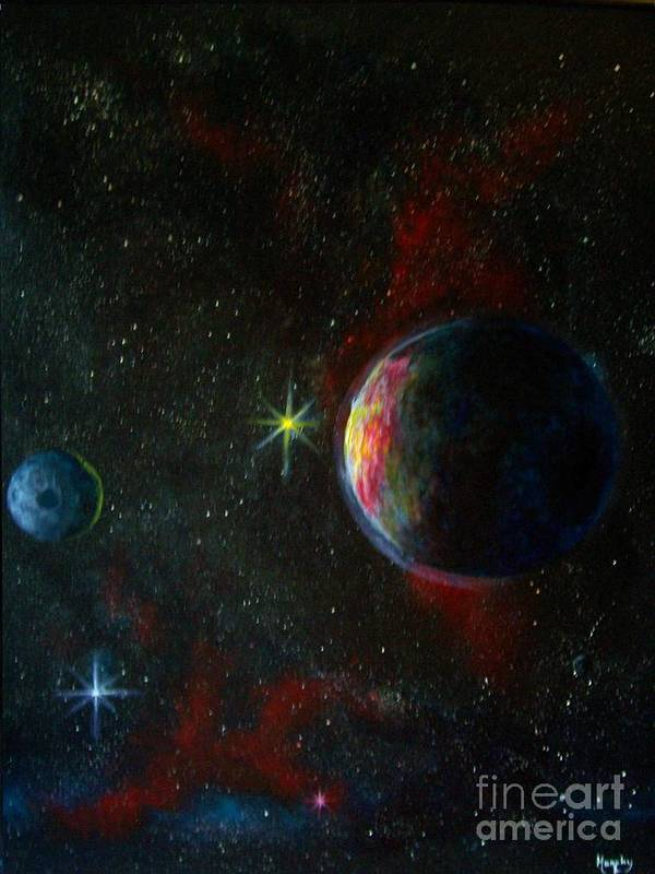 Cosmos Art Print featuring the painting Alien Worlds by Murphy Elliott