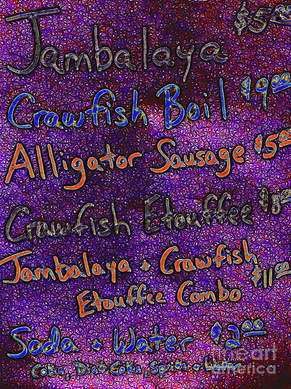 Menu Art Print featuring the photograph Alligator Sausage For Five Dollars 20130610 by Wingsdomain Art and Photography
