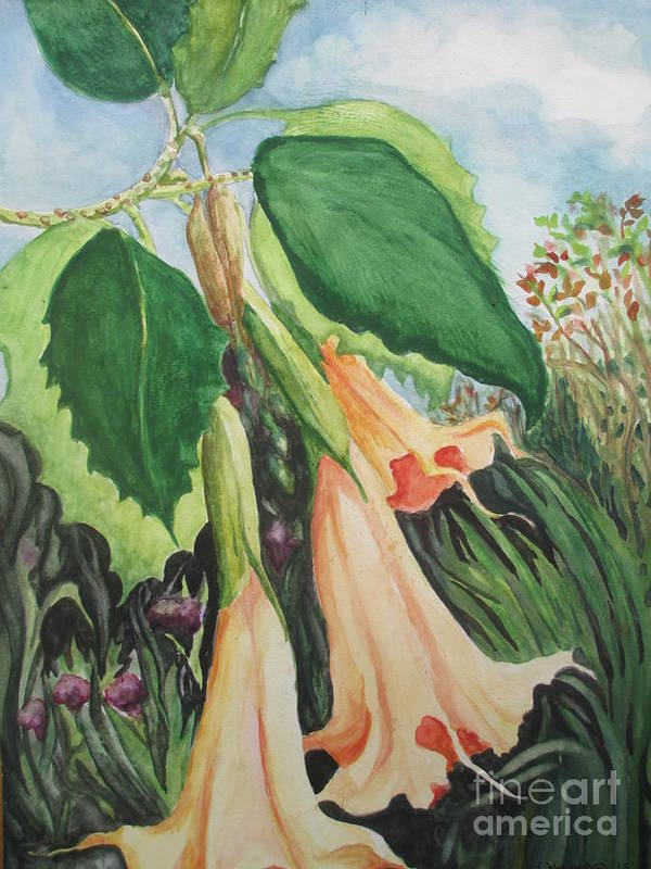 Angel Trumpet Art Print featuring the painting Angel's Trumpet Exotica by Lynn Maverick Denzer