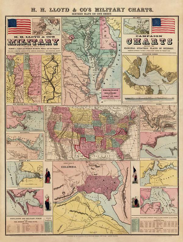 Civil War Art Print featuring the drawing Antique Civil War Map By Egbert L. Viele - Circa 1861 by Blue Monocle
