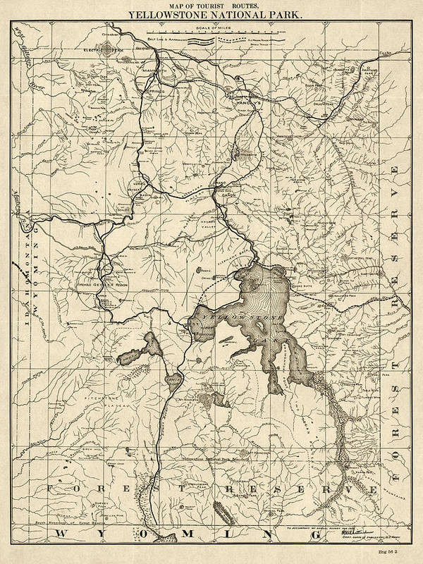Antique Map Of Yellowstone National Park By The U S War Department - Yellowstone-us-map