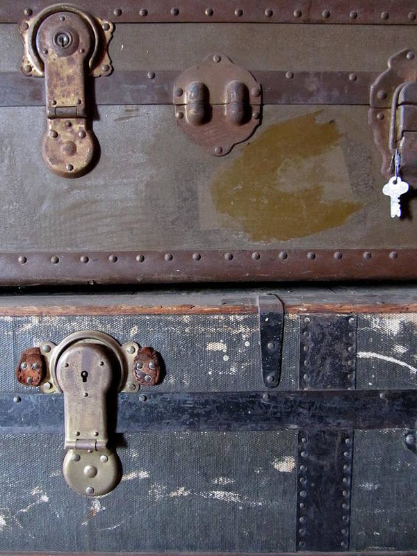 Vintage Art Print featuring the photograph Antique Trunks 5 by Anita Burgermeister