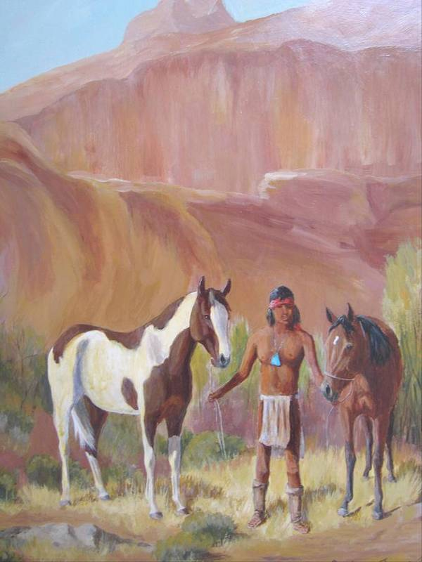Apache Art Print featuring the painting Apache Brave Waiting For The Lookout by Gretchen Jones