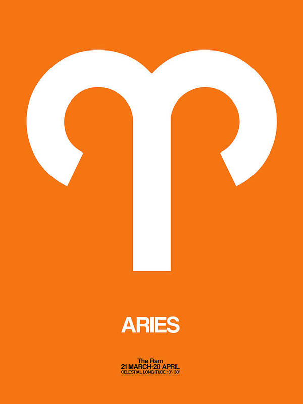 Aries Art Print featuring the digital art Aries Zodiac Sign White On Orange by Naxart Studio