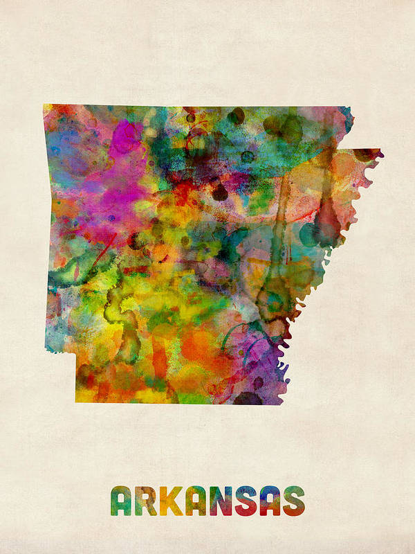 United States Map Art Print featuring the digital art Arkansas Watercolor Map by Michael Tompsett
