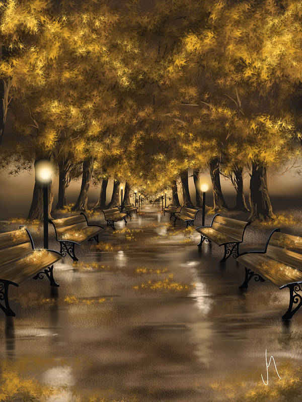Autumn Evening Art Print By Veronica Minozzi