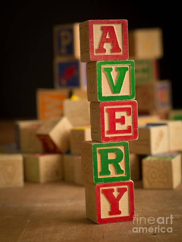 Alphabet Art Print featuring the photograph Avery - Alphabet Blocks by Edward Fielding