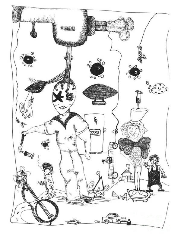 Back Rooms Of My Mind Art Print featuring the drawing Back Rooms Of My Mind Door 10313 by Michael Mooney