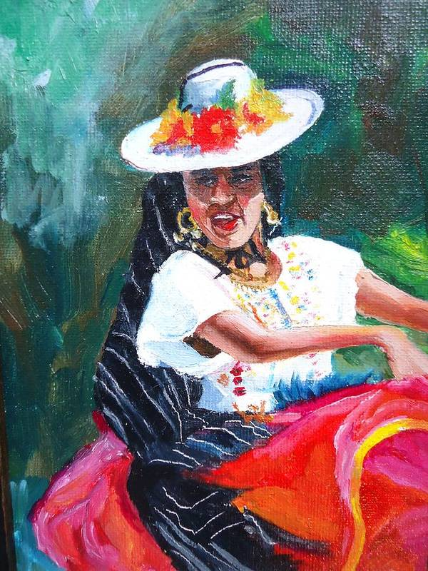 Oil Painting Art Print featuring the painting Baile De Michoacan by Luz Perez