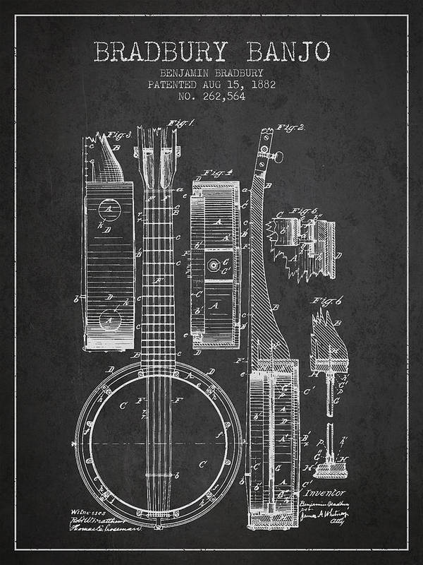 Banjo Art Print featuring the digital art Banjo Patent Drawing From 1882 Dark by Aged Pixel