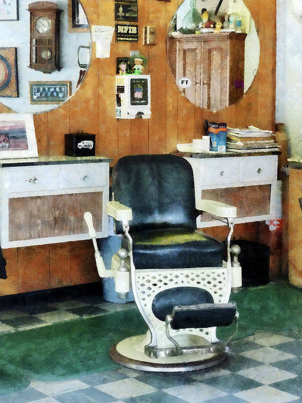 Barber Art Print featuring the photograph Barber - Barber Shop One Chair by Susan Savad
