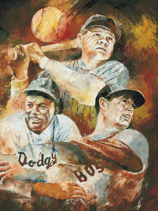 Sports Art Print featuring the painting Baseball Legends Babe Ruth Jackie Robinson And Ted Williams by Christiaan Bekker