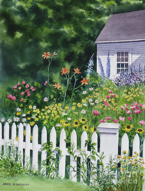 Cottage Art Print featuring the painting Bass River Cottage by Karol Wyckoff