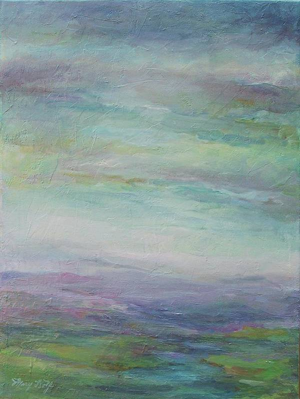 Landscape Art Print featuring the painting Beyond The Distant Hills by Mary Wolf