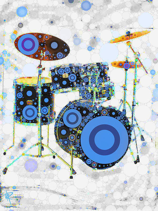 Drums Art Print featuring the mixed media Big Boom Bullseye by Russell Pierce