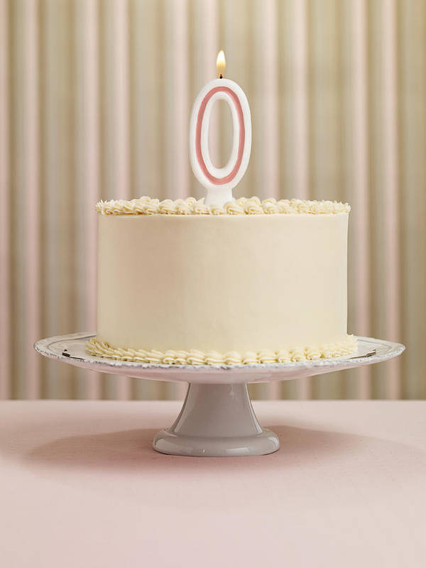 Celebration Art Print Featuring The Photograph Birthday Cake With Number 0 Candle By Lauren Burke