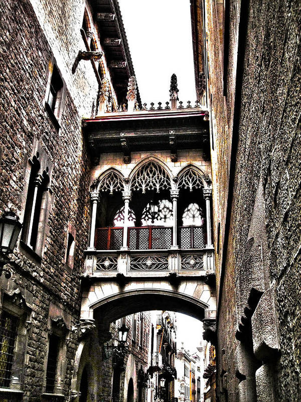 Europa Print featuring the photograph Bishop's Street - Barcelona by Juergen Weiss