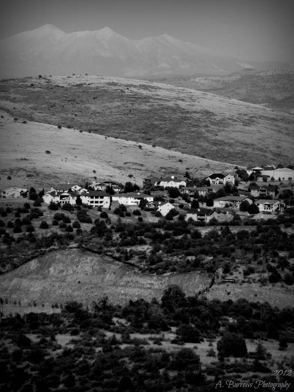 Prescott Art Print featuring the photograph Black And White Peaks Over Prescott Homes by Aaron Burrows