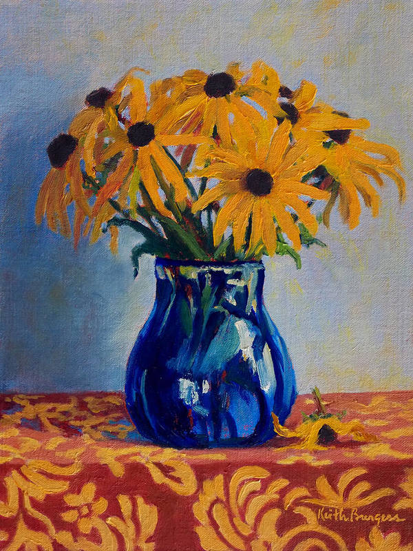 Impressionism Art Print featuring the painting Black Eyed Susans by Keith Burgess