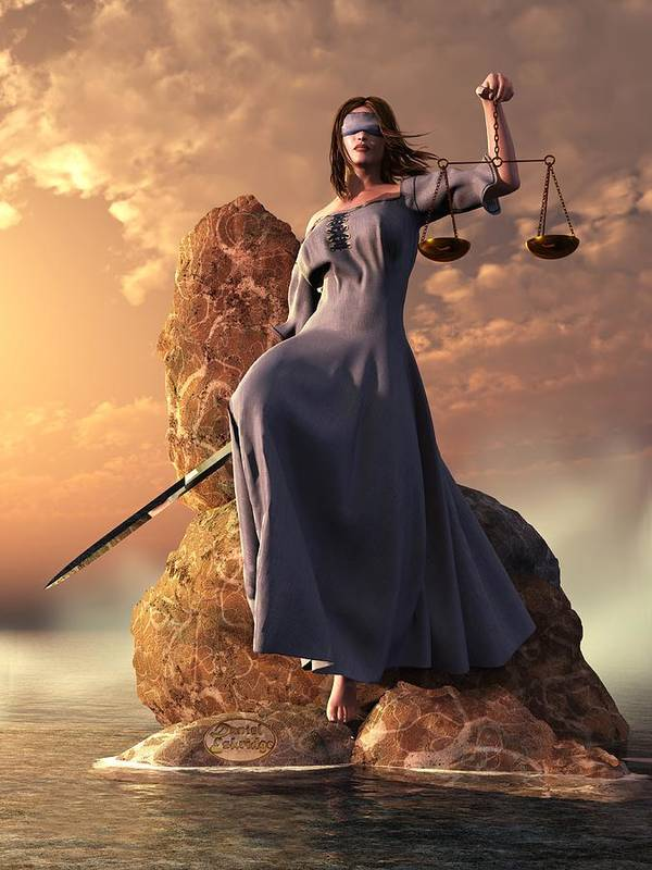 Justice Print featuring the digital art Blind Justice With Scales And Sword by Daniel Eskridge