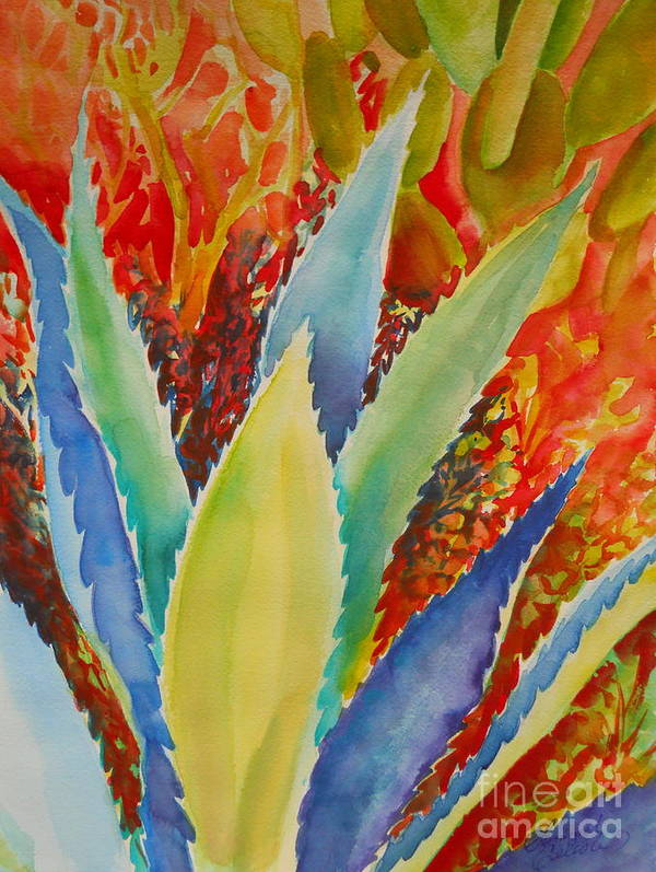 Desert Art Print featuring the painting Blue Agave by Summer Celeste