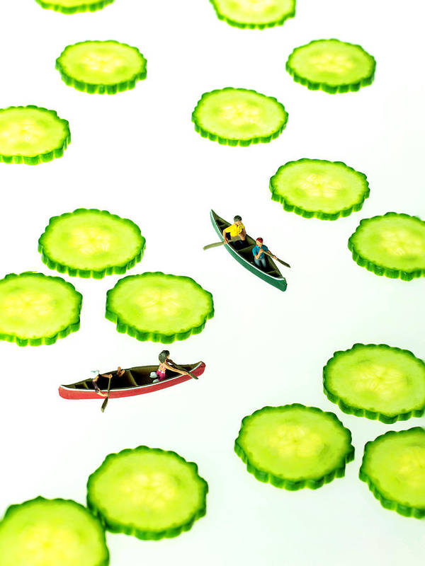 Boat Art Print featuring the painting Boating Among Cucumber Slices Miniature Art by Paul Ge