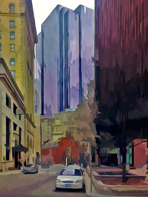 Bosotn Print featuring the digital art Boston City Centre 2 by Yury Malkov
