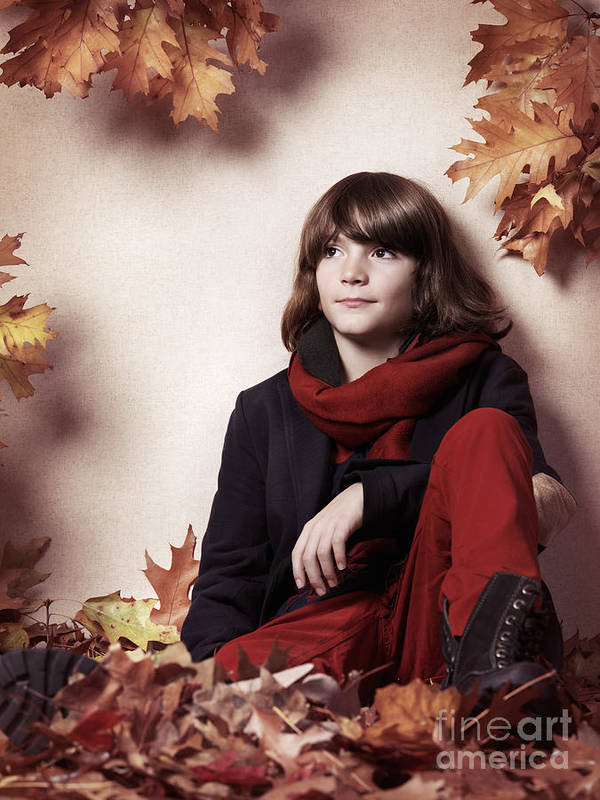 Boy Art Print featuring the photograph Boy Sitting On Autumn Leaves Artistic Portrait by Oleksiy Maksymenko