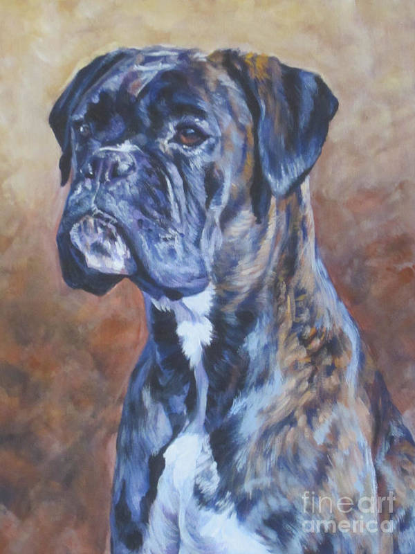 Boxer Art Print featuring the painting Brindle Boxer by Lee Ann Shepard