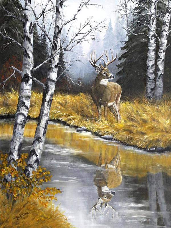Wildlife Art Print featuring the painting Buck Reflection by Johanna Lerwick