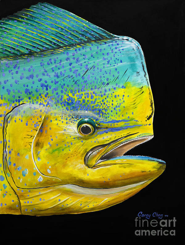 Bull Dolphin Art Print featuring the painting Bull Head Off0033 by Carey Chen