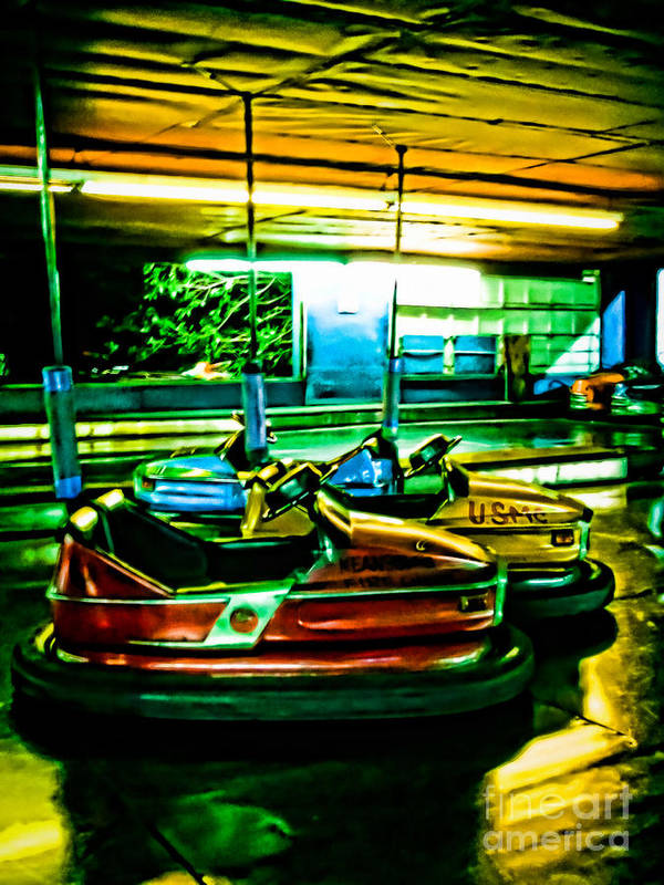 Bumper Cars Art Print featuring the photograph Bumper Cars by Colleen Kammerer