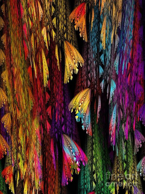 Abstract Art Print featuring the digital art Butterflies On The Curtain by Klara Acel
