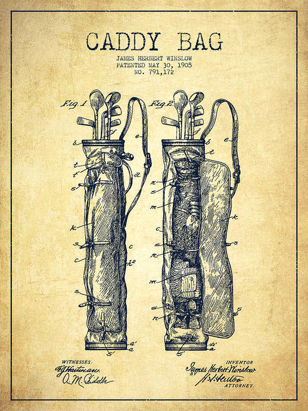 Caddy Bag Art Print featuring the digital art Caddy Bag Patent Drawing From 1905 - Vintage by Aged Pixel