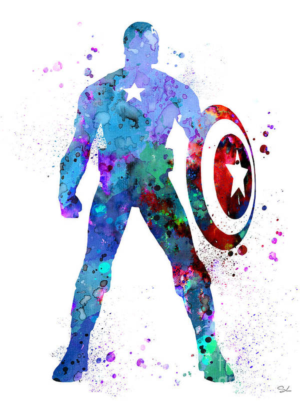 Captain America 2 Art Print By Watercolor Girl