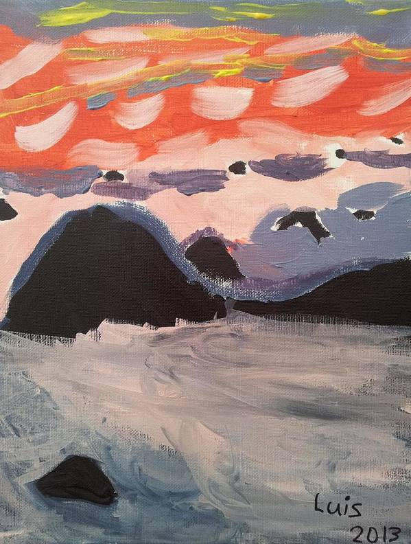 Caribbean Sunset Art Print featuring the painting Caribbean Sunset by Epic Luis Art