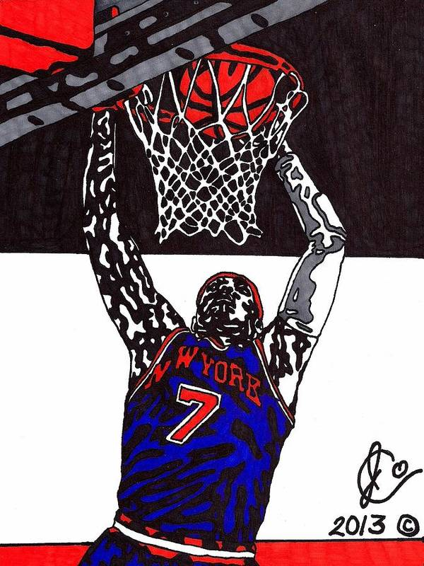 American Basketball Art Print featuring the drawing Carmelo Anthony by Jeremiah Colley