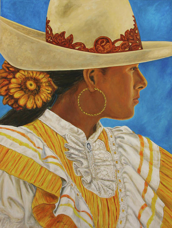 Mexican Rodeo Art Print featuring the painting Charra Bonita by Pat Haley