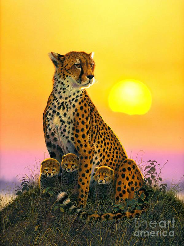 Cheetah Art Print featuring the photograph Cheetah And Cubs by MGL Studio - Chris Hiett
