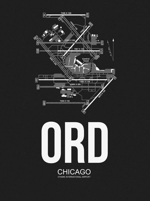 Chicago Art Print featuring the digital art Chicago Airport Poster by Naxart Studio