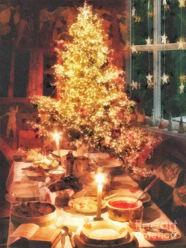 Christmas Eve Art Print featuring the painting Christmas Eve by Mo T