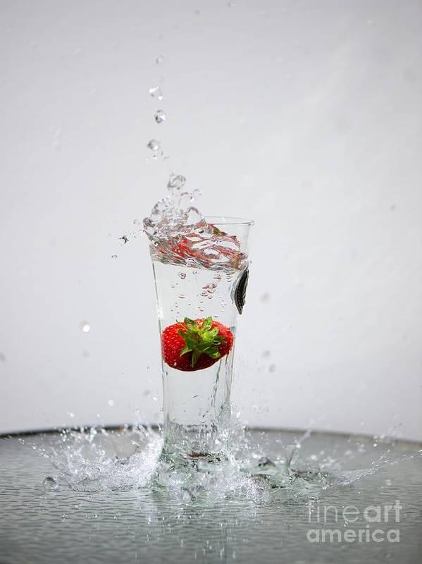 Strawberry Art Print featuring the photograph Berry Big Splash by Kerri Lane