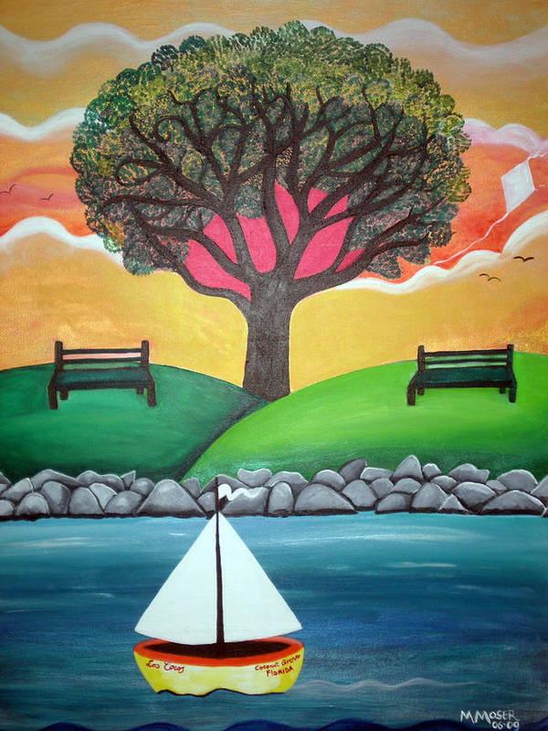 Naif Art Print featuring the painting Coconut Grove Park by Monica Moser