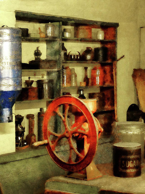 Coffee Grinder Art Print featuring the photograph Coffee Grinder And Canister Of Sugar by Susan Savad