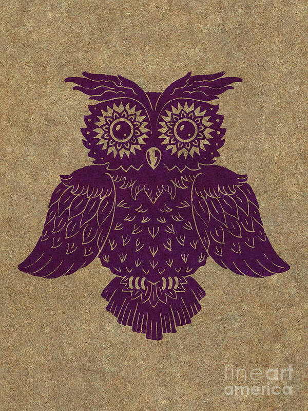 Owl Art Print featuring the painting Colored Owl 1 Of 4 by Kyle Wood
