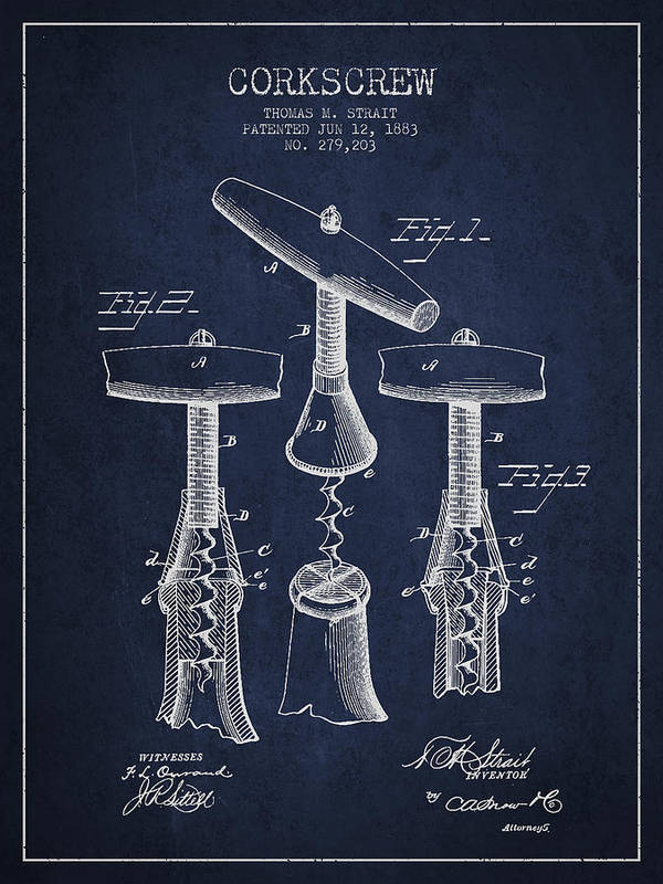 Corkscrew Print featuring the drawing Corkscrew Patent Drawing From 1883 by Aged Pixel