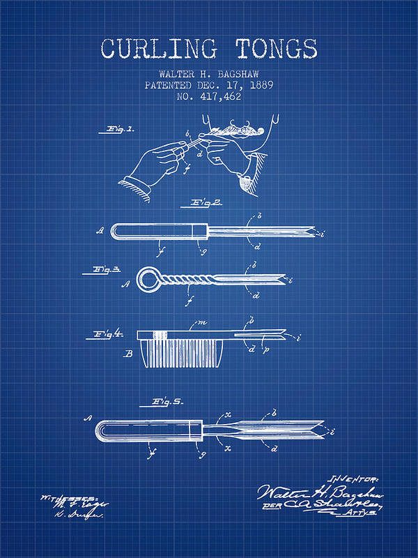 Hair Curling Art Print featuring the digital art Curling Tongs Patent From 1889 - Blueprint by Aged Pixel